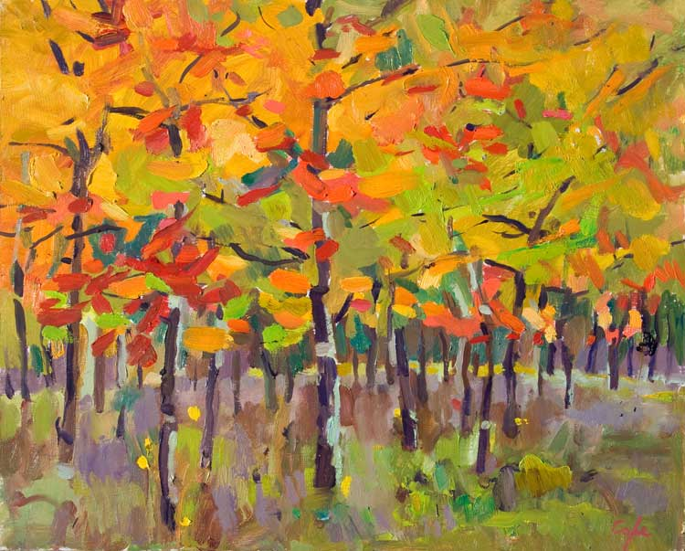 'Red Oaks' Oil, 36x 48cm (approx 15 x 14 inches)