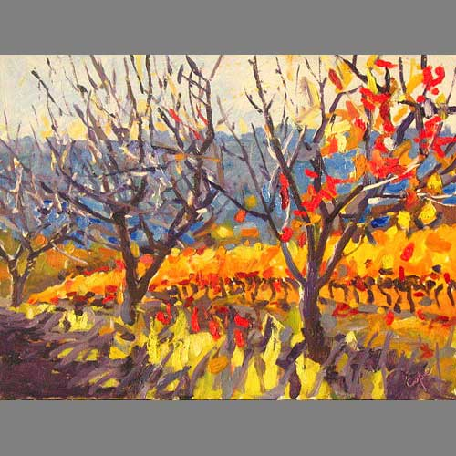 'Three Cherries in the Vines' Oil. 30 x40 cm