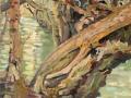 'Nyiad (Crack Willow & Ash on the Banks of the River Dropt)' Oil on Canvas, 46 x 38 cm 'Tronc noeux, branches dressées, rabotées par les ans; coeur de vacuité relié à l'Immémoriale Orgine.' - Shitao
