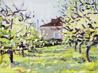 'Plum Orchard in Blossom' Oil on Panel, 30 x 40 cm