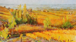 'La Cattie, Monbazillac' Oil. 91 x 55 cm. Sold.