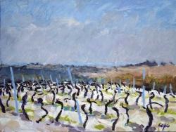 'Vignoble dans le Quercy Blanc. Cahors A.O.C.' Oil. 30 x 40 cm. Sold.