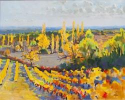 'Autumn Vines. Boisse. Bergerac A.O.C.' 81 x 65 cm. Oil on Cnavas. Available.