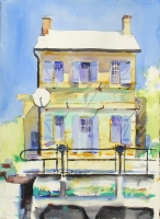 'La Maison d'Ecluse' (Canal House). Watercolour 24 x30 cm. Sold.