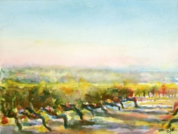 \'Vignoble, le Plantou\' Aquarelle. 40 x 50cm. Sold