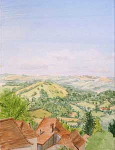 watercolour landscape,plein air, france,