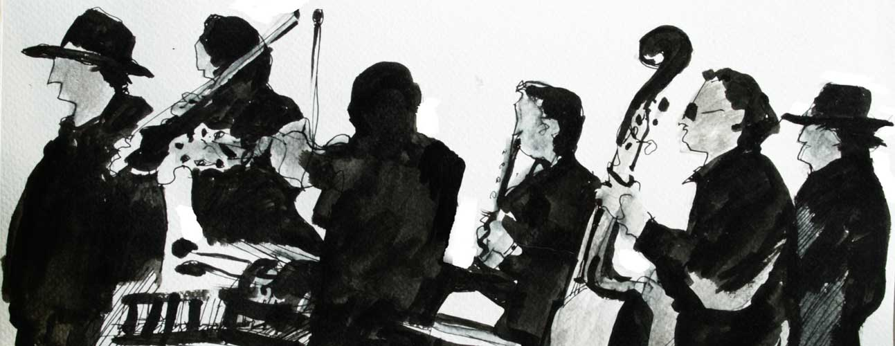 black & white drawing notan buskers musicians