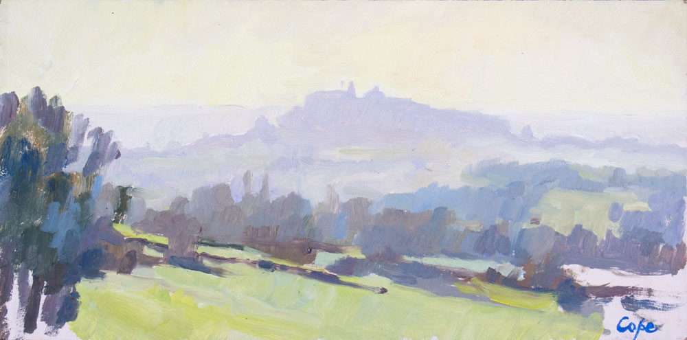 oil painting plein air etude monflanquin village perché sud ouest france