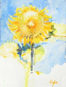 watercolour of a sunflower