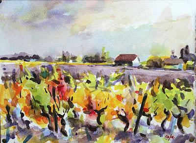 old wine stocks dancing autumne wine vines viuex cepes aquarelle watercolour