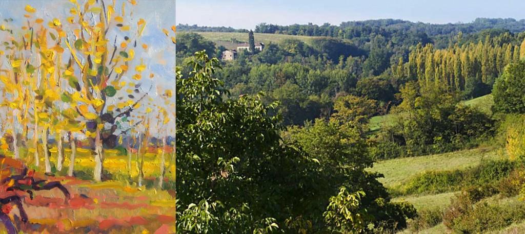 vines & oil painting & view of poplars