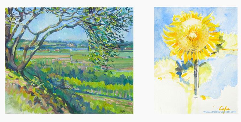 oil painting watercolour art south west france sunflower green landscape plein air adam cope