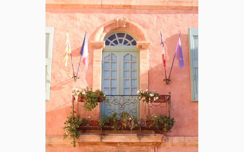 provencal window french flags pink walls