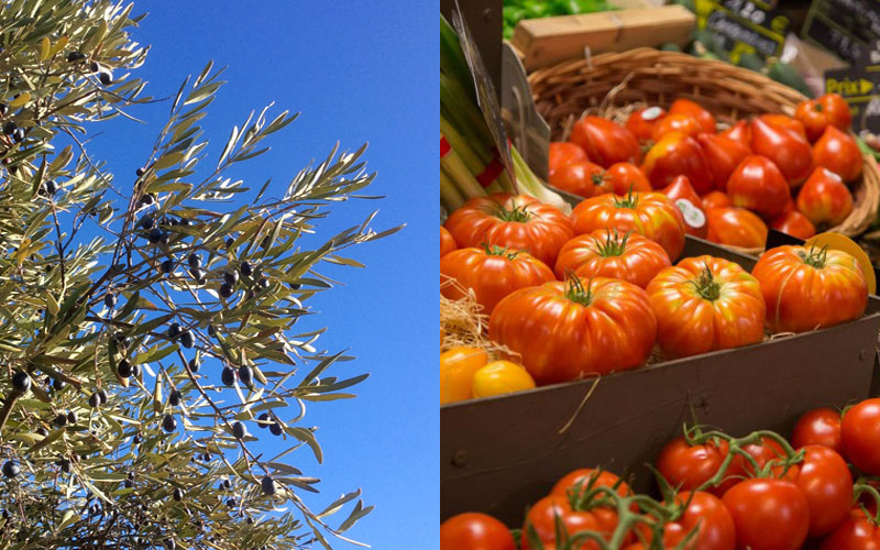 olives tomatoes mediterinean vibrant colours blue sky