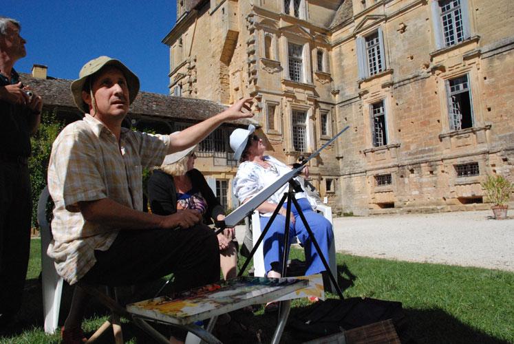 Adam Cope teaching art France
