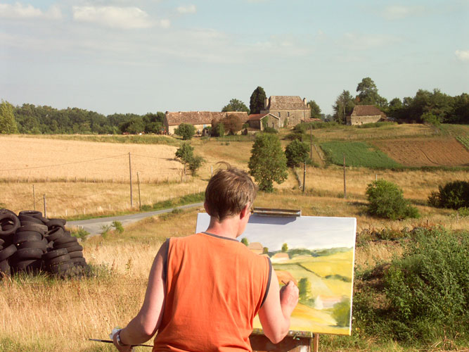 plein painter outside south of france infront of dordogne house cornfield