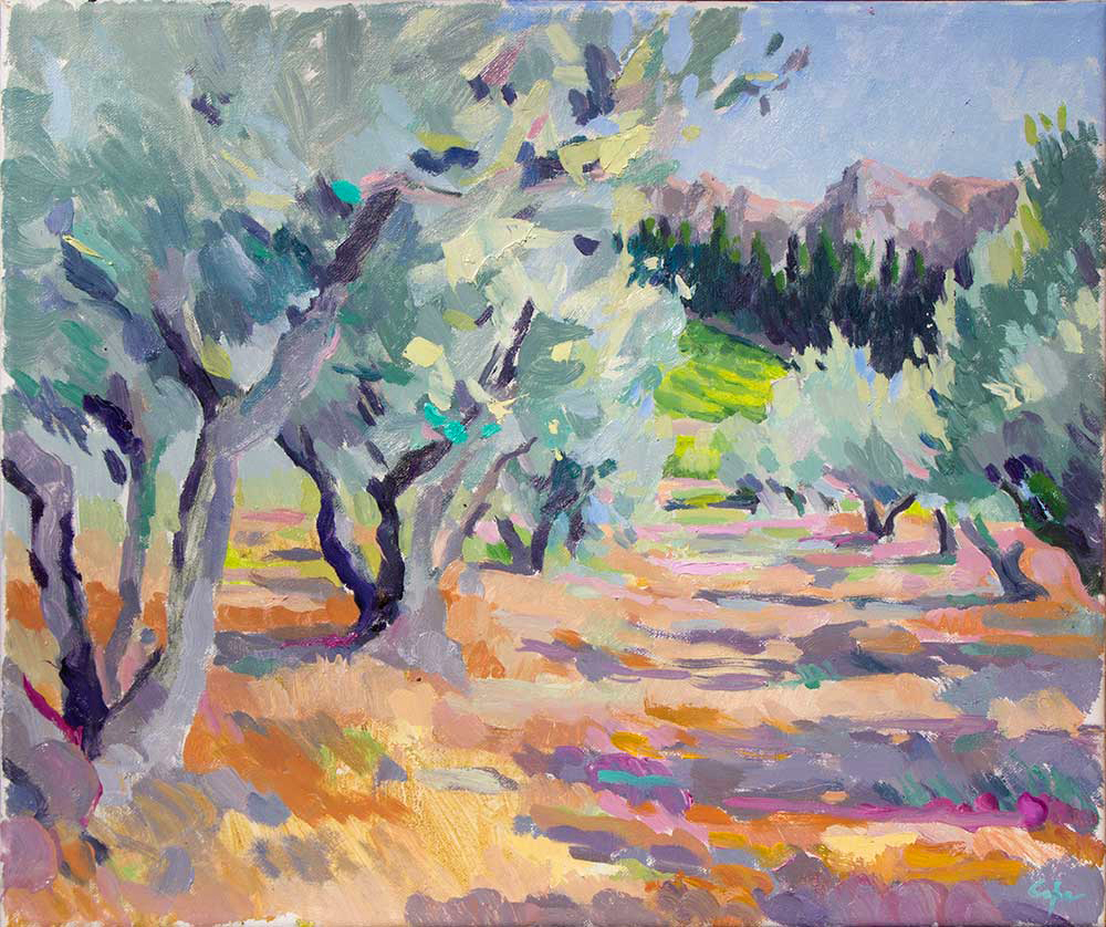 tabelau, art, plein peinture, mediterrean, allpilles, oliviers, couleur, fauve