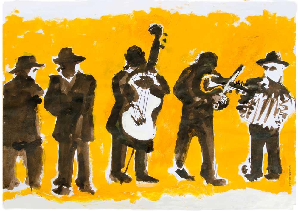 karpatz, Buskers, Sarlat, drawing, musicans, men in black,