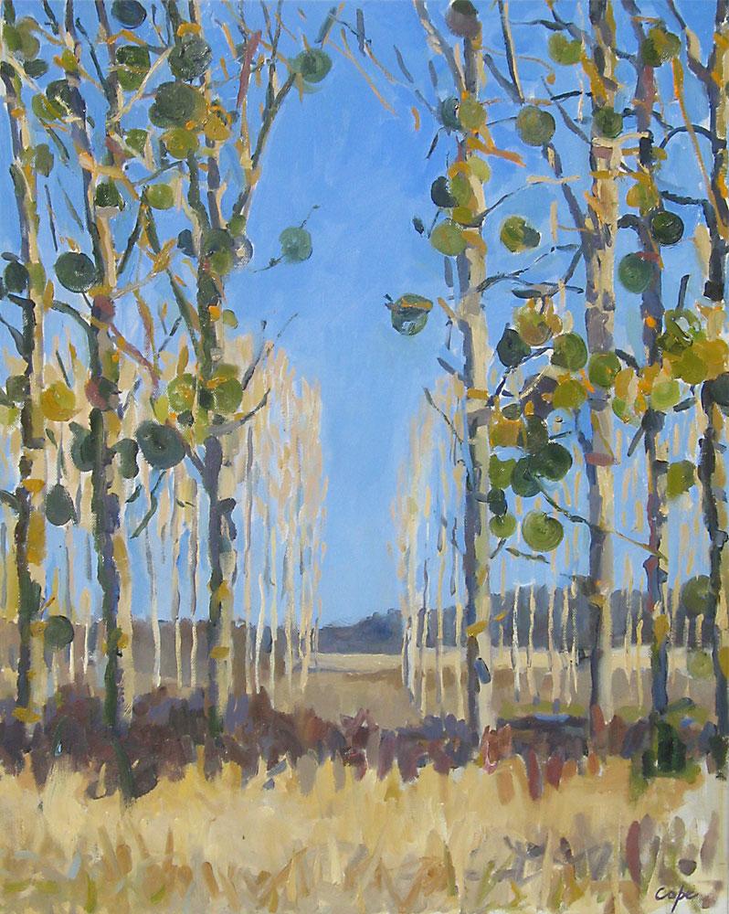 tableau, peinture huile,Gui,trees, mistletoe,winter, peupleirs,hiver,ciel bleu