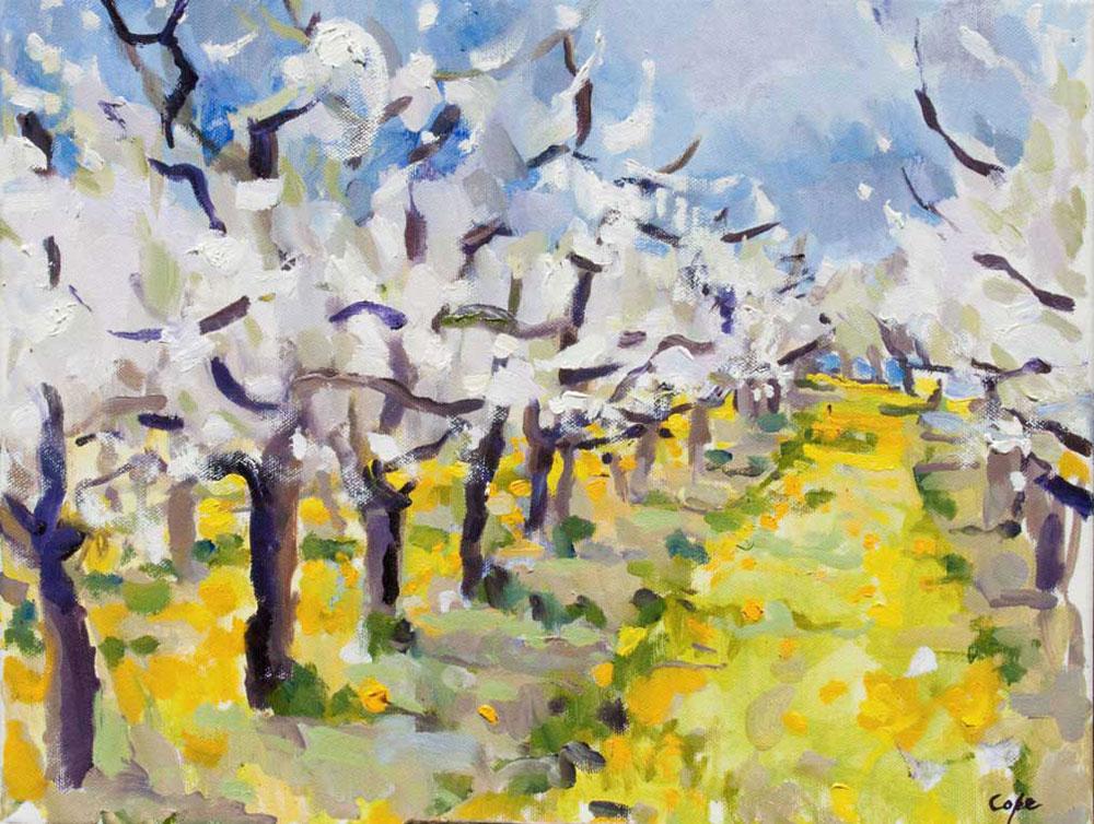 tableau, huile, expressif,pruniers, printemps,blouton, pisenlit, lot garoone, pruneaux dagen