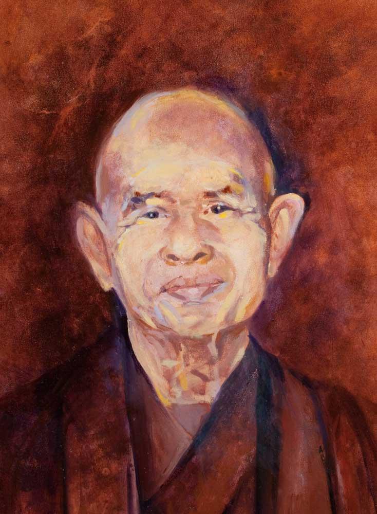 oil portarit, Thich Nhat Hahn, life size portrait