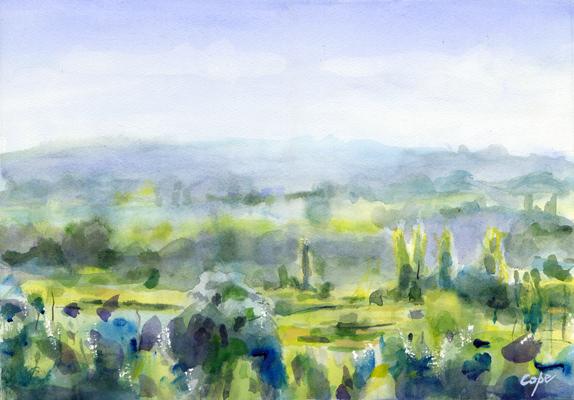 aquarelle,dropt,lot et garonne,castillonnes,vallee