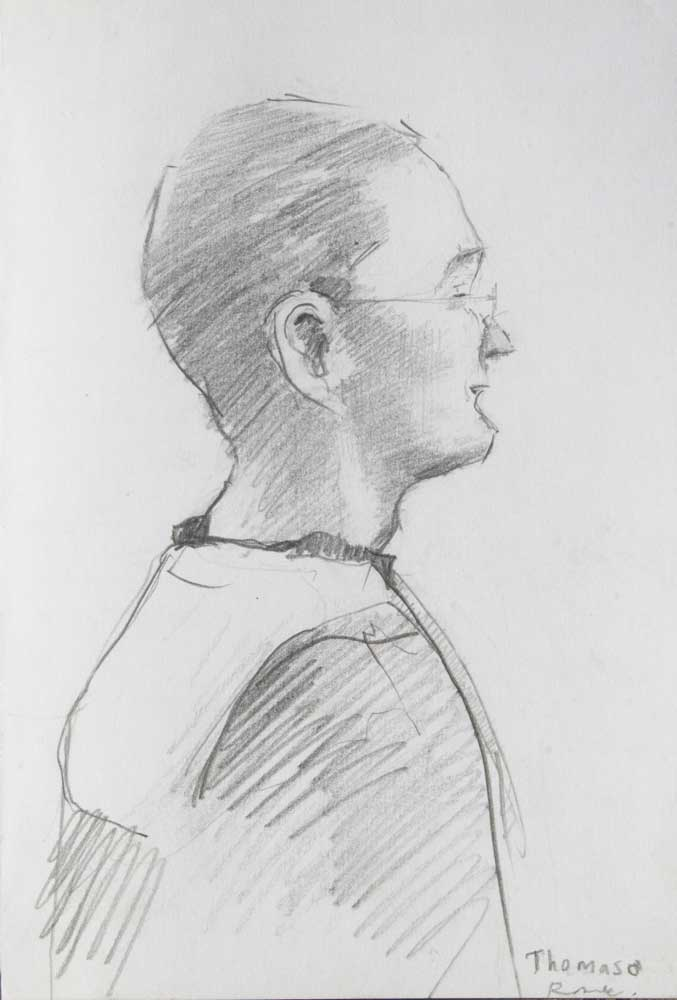 graphite portrait, young ma, attention, hatching, hachure, profile,