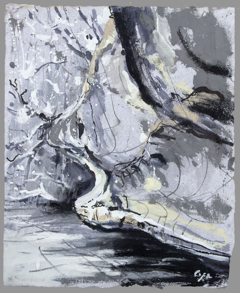 cliff,Vezere,pas de mirror, watercolour on grey paper,gouache,dordgne,prehistory