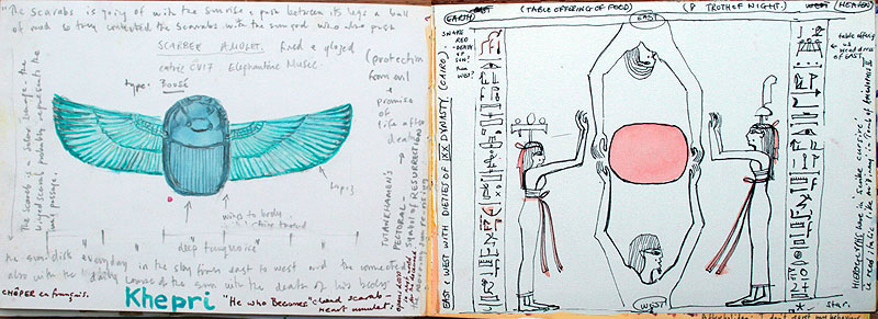 drawing,Carnet de Voyage ,Egypte,Kpheren, Sketchbook,book,spells