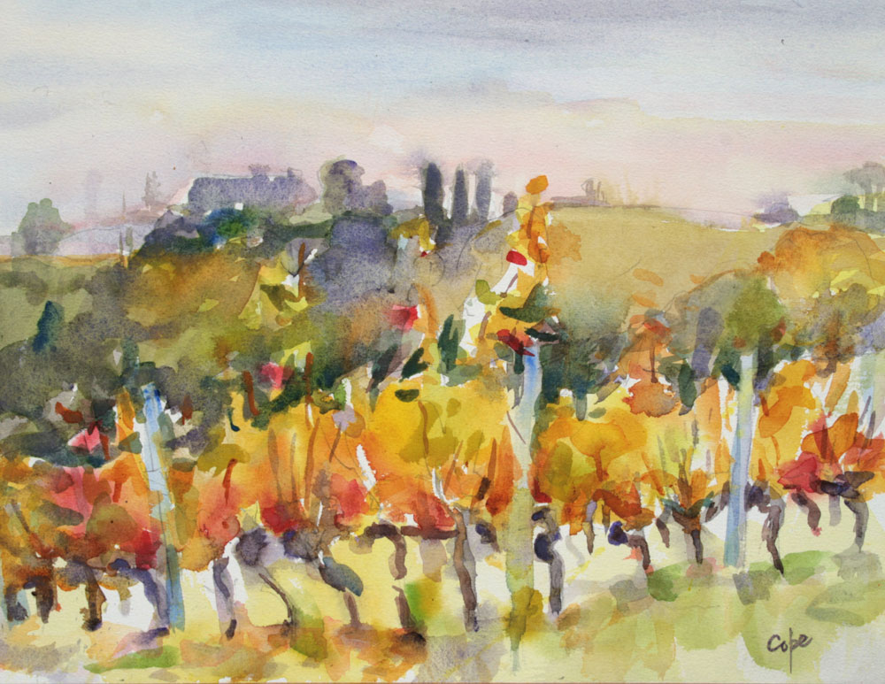 watercolour, autumn vines, wet on wet. pleinaur, alla prima,landscape, aquarelle,