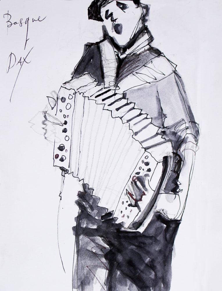 Drawing, pen ink, sketch, musician, accordian, Basque Trikitixa, Dax