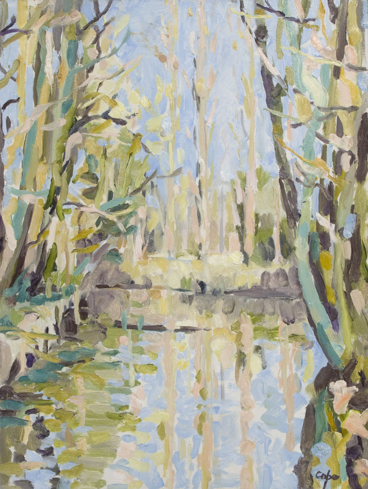 Poplars river bank, semi abstract landscape, alla prima, pleinair, Dropt, Adam Cope, spring