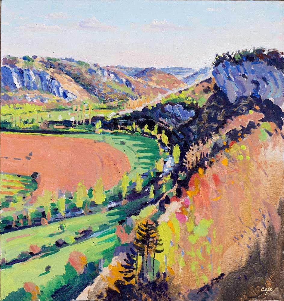 tableau huile,art,plein-air,Lot,Célé, Quercy, Falaiie, Cingle