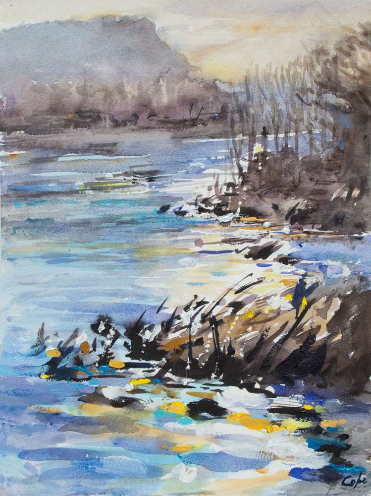 watercolour,river,tonal,wet in wet,technique,pleinair,landscape