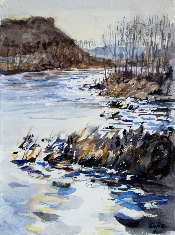 tonality,values,high contrast,watercolour,river,,technique,pleinair,landscape