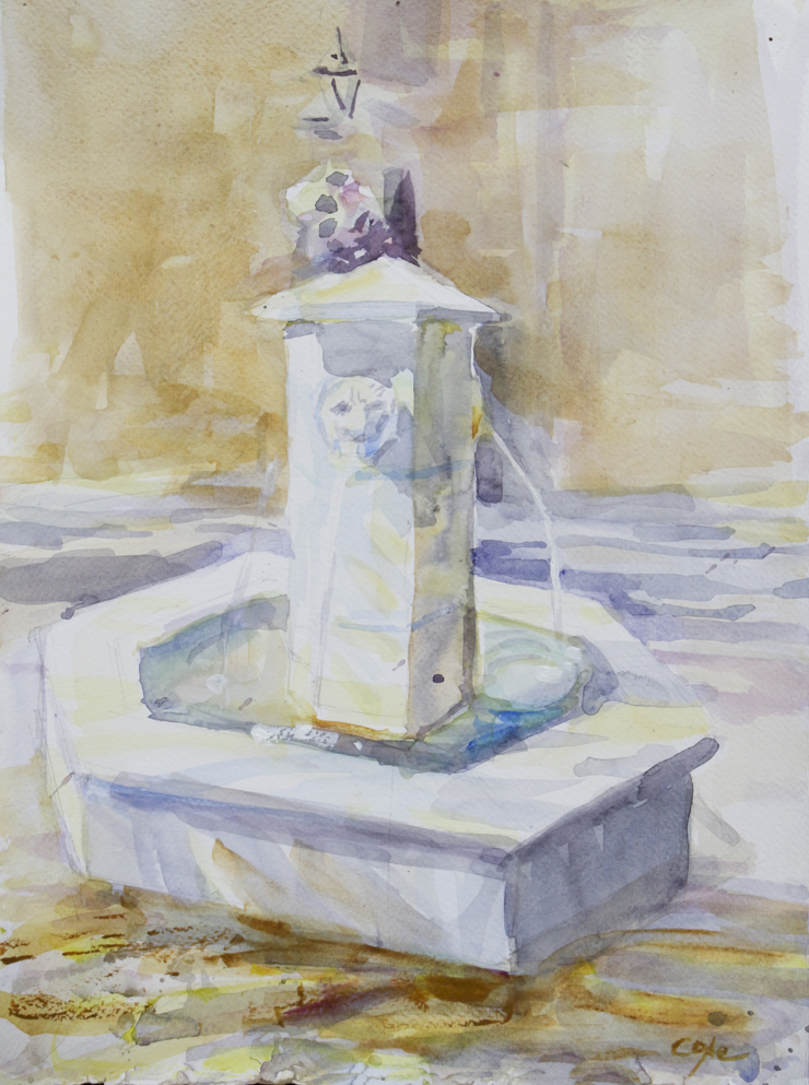 watercolour,fountain,sunshine,shadows,bright,light