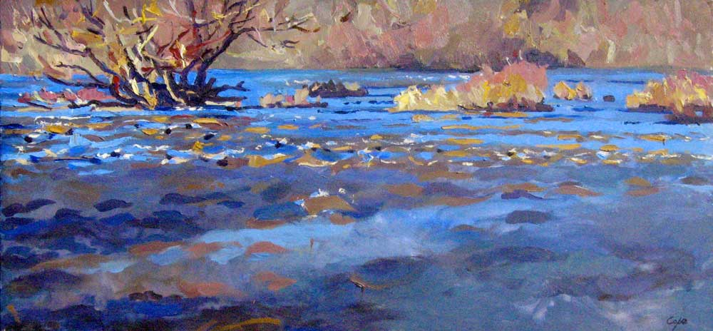 river oil painting, fast flowing water, dordogne, islands, winter, alla prima, plein air