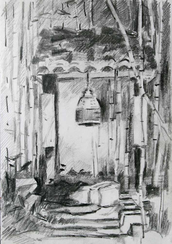 Temple Bell, vietamien bell, bamboo, drawing, pencilk, tonal study, plum village, lower hamlet,