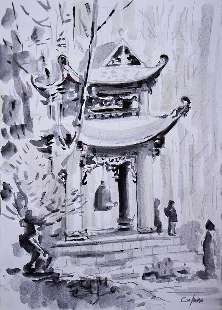 vietnamian pagonda, neutral tint, watercolour,bell tower,plum village