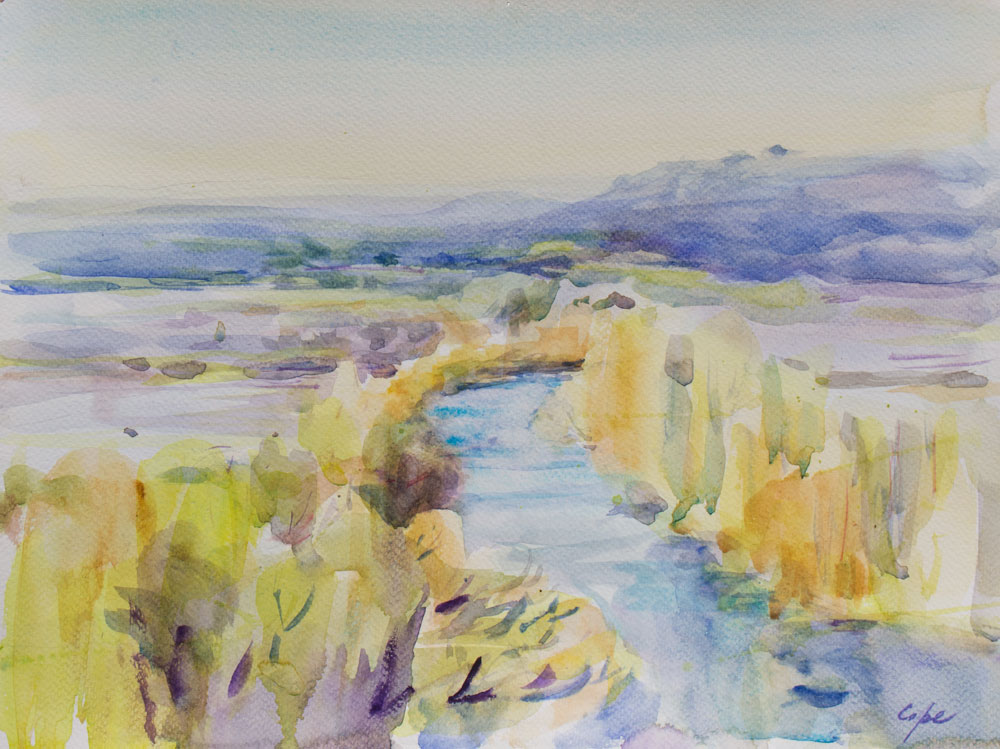 dordogne riviere, wet-in -wet,pleinair,aquarelle, watercolour, light, colour,