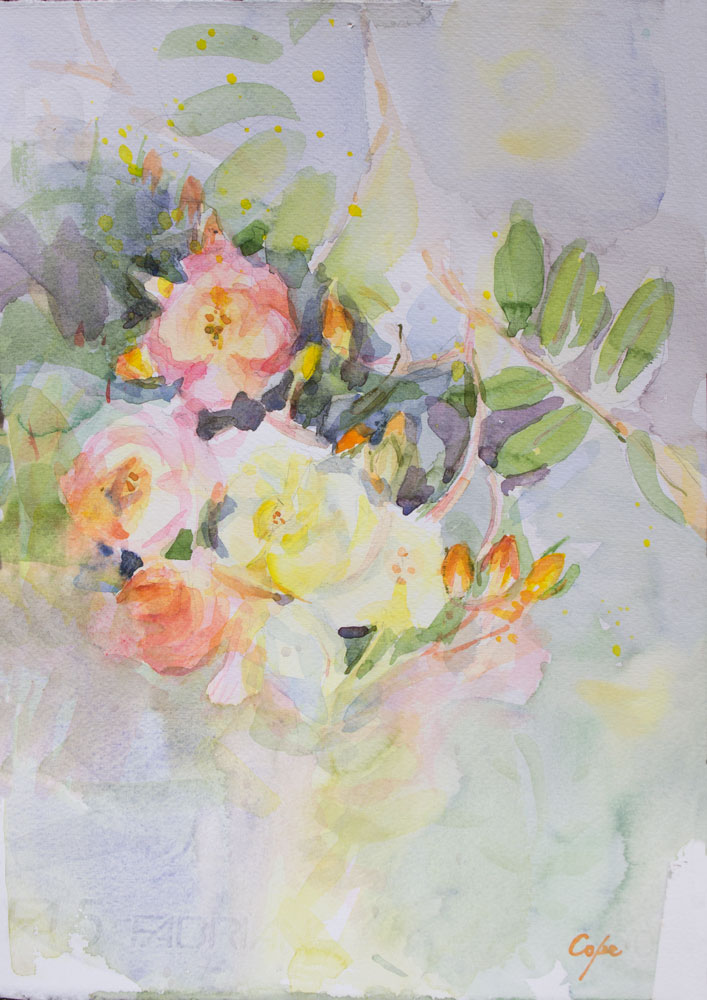 watercolour roses aquarelle rosiers humide sur humide