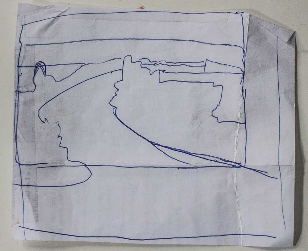 prepartory drawing, compositional thumbnail sketch, contour, pen & ink, shape drawing