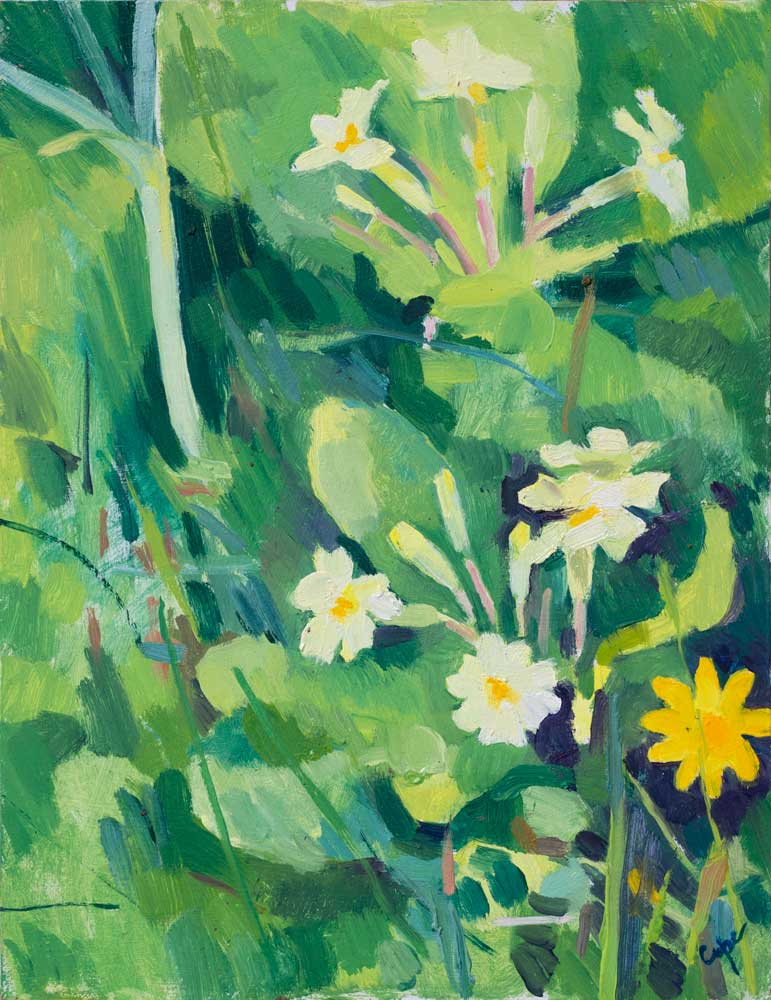 primerose, floral, flower painting, oil, grass painting, wild leeks,