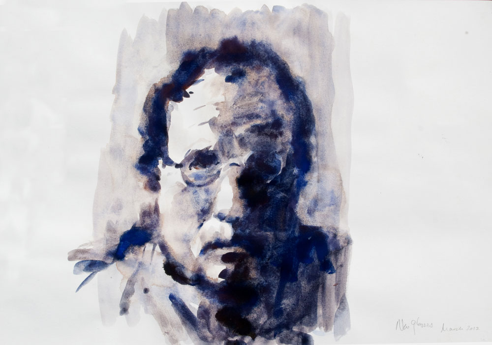 self portrait watercolour grisaille
