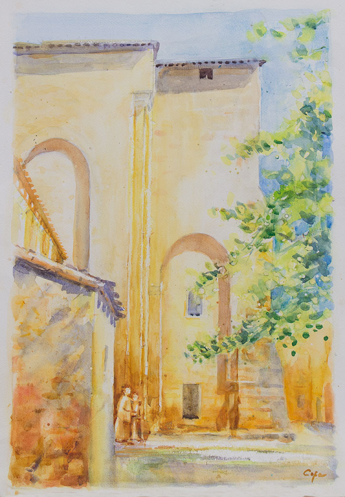aquarelle, watercolor, medieval abbey, sunlight, romanesque architecture,