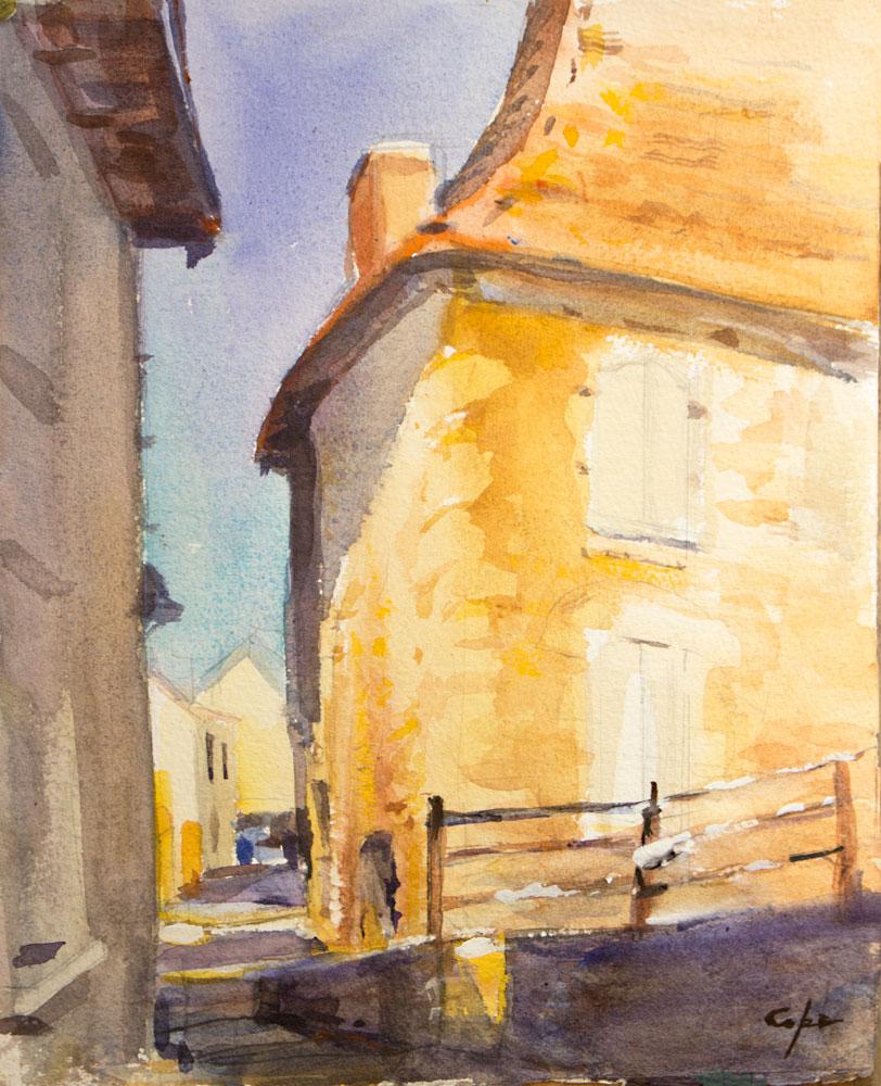 aquarelle, maison perigordienne, watercolo,r dordogne, vernacular arcitecture