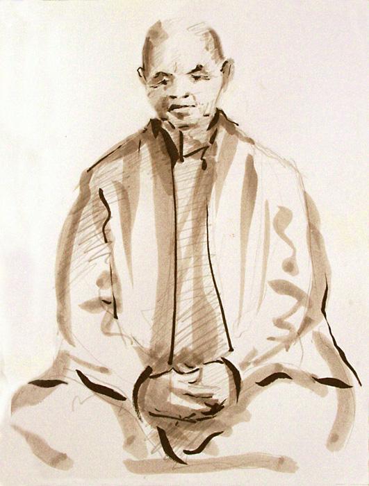 zen master,drawing,meditation,neo sumi-e,zafu, Thich Nhat Han