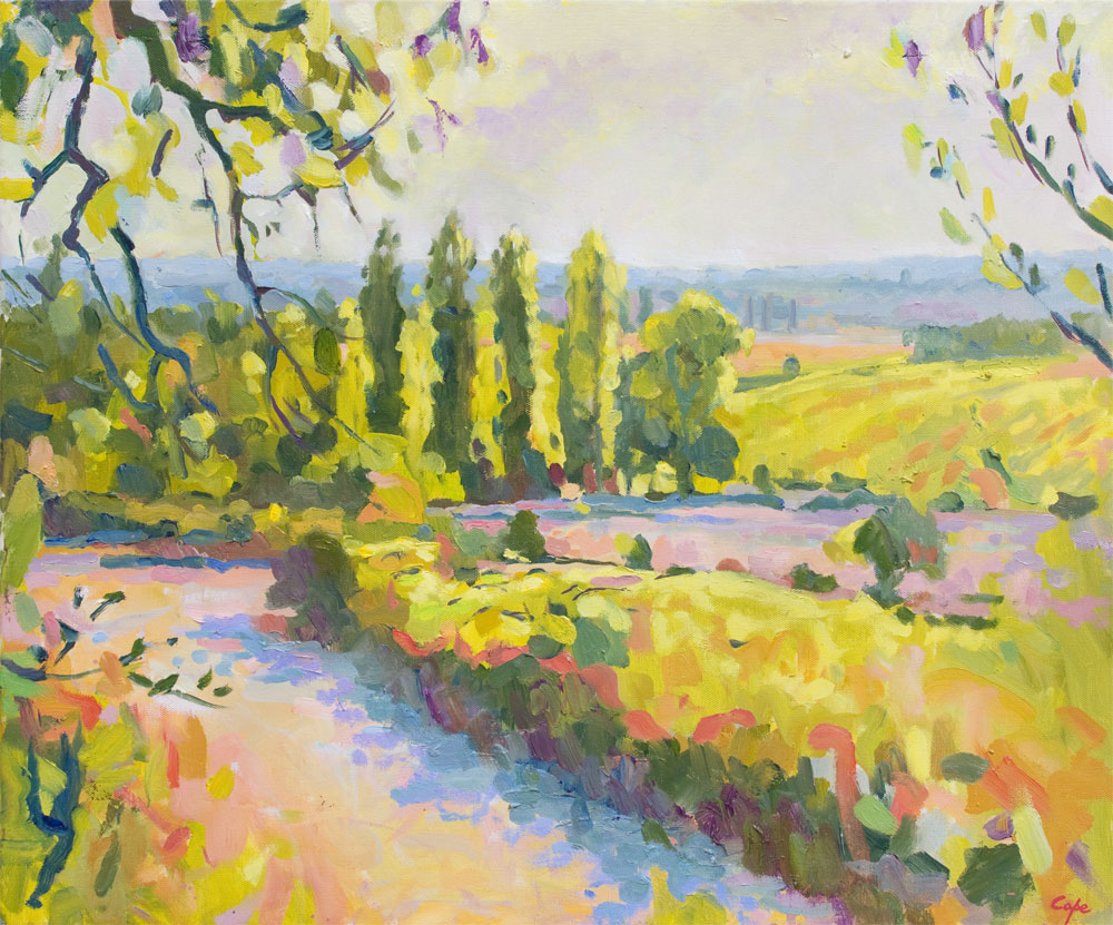 colourist oil painting, landscape French, sud ouest, dorogne,vignoble, huile