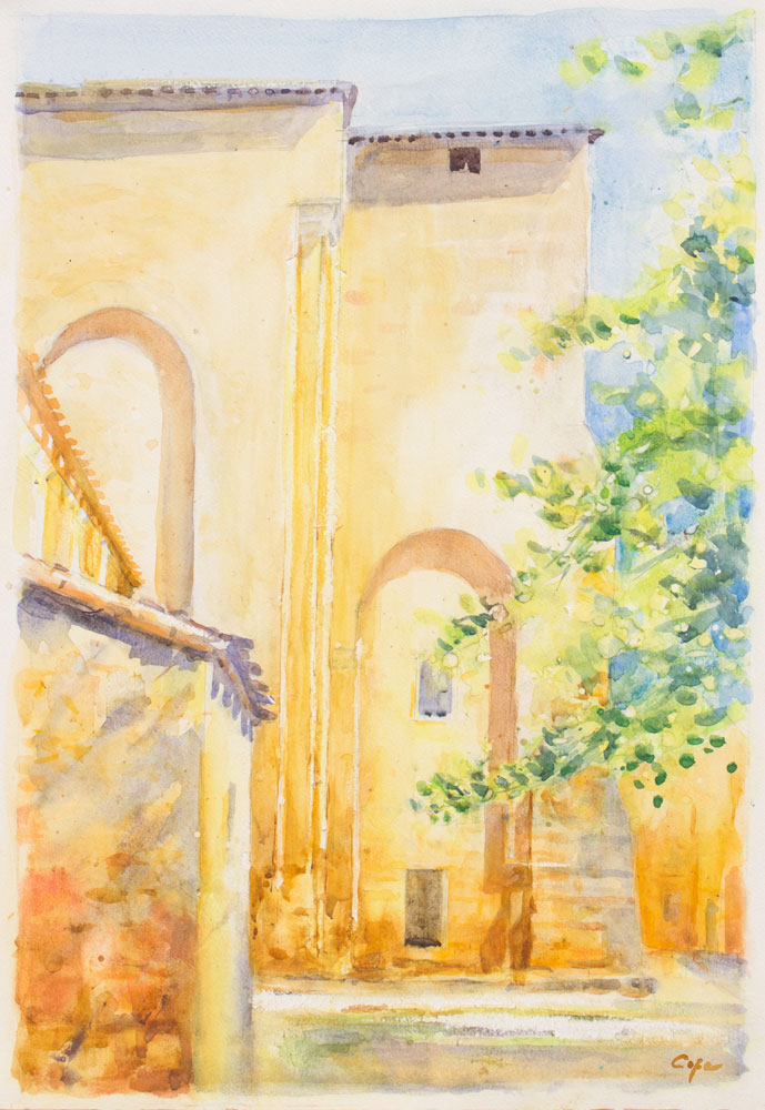 watercolour, architecture, medieval abbey, st avit, dordogne, sunlight