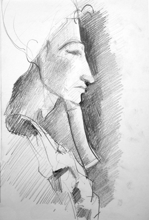 drawing,Akenaton, Louvre' Graphite, sketchbook,pencil,egypt